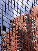Red Buildings Posters - Building reflection Poster by Tony Cordoza