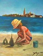 Germany Mixed Media - Building Sand Castles Across San Giorgio Maggiore Island - Venice - Italy by Dan Haraga