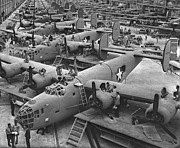 All-metal Prints - Building the B24 Fleet 1943 BW Print by Padre Art