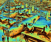 Fuselages Prints - Building the B24 Fleet 1943 Print by Padre Art