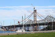 Oakland Bay Bridge Posters - Building The New San Francisco Oakland Bay Bridge 7D7775 Poster by Wingsdomain Art and Photography