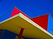Chicano Prints - Building Turns Itself Into Mondrian Print by Chuck Taylor