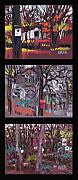 Buildings Drawings Metal Prints - Buildings and Birdhouses Triptych Metal Print by Donald Maier