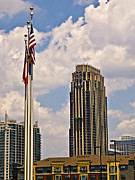 Susan Leggett Metal Prints - Buildings and Flags Against Sky Metal Print by Susan Leggett