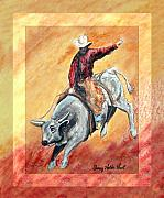 Cowboy Paintings - Bull and Rider by Sherry Holder Hunt