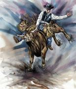 Realistic Photo Prints - Bull Bucking His Rider Print by Design Pics Eye Traveller
