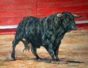 Bulls Painting Framed Prints - Bull Framed Print by David McEwen