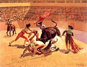 Roberto Prusso Metal Prints - Bull Fight In Mexico Metal Print by Frederic Remington