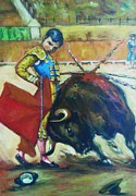 Red Drape Paintings - Bull Fighter 2 by Baez