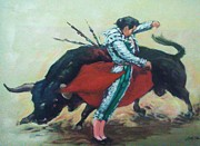 Red Drape Paintings - Bull Fighter 3 by Baez