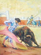 Red Drape Paintings - Bull Fighter 4 by Baez