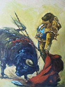 Red Drape Paintings - Bull Fighter 5 by Baez