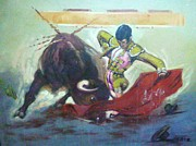 Red Drape Paintings - Bull Fighter 7 by Baez