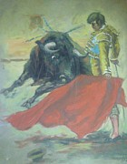 Red Drape Paintings - Bull Fighter 8 by Baez