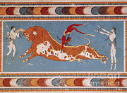Mural Photos - Bull-leaping Fresco From Minoan Culture by Photo Researchers