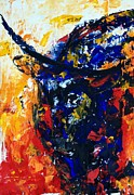 Pallet Knife Painting Prints - Bull Print by Lidija Ivanek