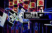 Wall Street Digital Art Prints - Bull Market Print by Linda  Parker