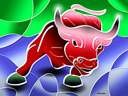 Financial Digital Art Posters - Bull Market Poster by Stephen Younts