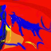 Concentration Mixed Media - Bull Meets Matador by Mimo Krouzian