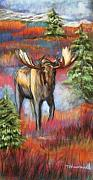 Deer Pastels Posters - Bull Moose In Fall Poster by Tracey Hunnewell