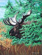 Framed Pastels Originals - Bull Moose by Tracey Hunnewell
