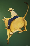 Cow Boy Paintings - Bull Ride by Peter Wedel