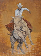 Elaine Jones Metal Prints - Bull Rider Metal Print by Elaine Jones