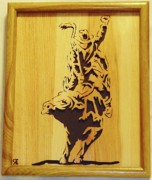 Woodcarving Sculpture Originals - Bull-Rider by Russell Ellingsworth