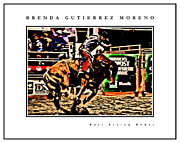 Bull Rider Art Framed Prints - Bull Riding Rodeo white border Framed Print by Brenda Gutierrez Moreno