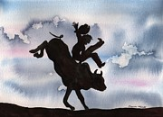 Bull Rider Art Framed Prints - Bull Riding Framed Print by Sharon Mick