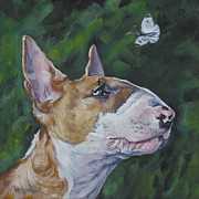 Bull Terrier Framed Prints - Bull Terrier And Butterfly Framed Print by Lee Ann Shepard
