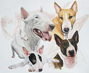 Domestic Pets Mixed Media - Bull Terrier by Barbara Keith