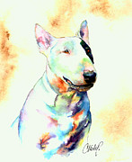 Bull Terrier Paintings - Bull Terrier Dog Portrait by Christy  Freeman