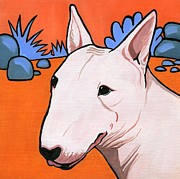 Dog Breeds Paintings - Bull Terrier by Leanne Wilkes