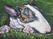 Puppy Paintings - bull Terrier by Lee Ann Shepard