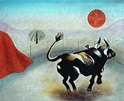 Bulls Pastels Posters - Bull with Sun Poster by Sally Appleby