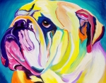 Colorful Art Posters - Bulldog - Bully Poster by Alicia VanNoy Call