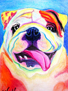 Dawgart Prints - Bulldog - Bully Smile Print by Alicia VanNoy Call