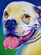 Smiling Painting Posters - Bulldog - Luke Poster by Alicia VanNoy Call