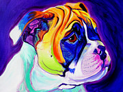 English Bulldog Paintings - Bulldog - Pup by Alicia VanNoy Call