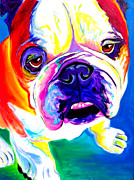English Bulldog Paintings - Bulldog - Stanley by Alicia VanNoy Call