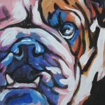 Modern Dog Art Paintings - Bulldog Baby by Lea
