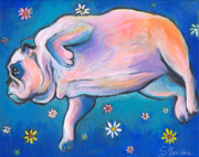 Funny Dog Drawings - Bulldog dreams by Svetlana Novikova