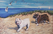Puppy Art Prints - Bulldogs on the Beach Print by Lee Ann Shepard