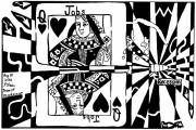 Playing Cards Originals - Bullet thru the queen of hearts...recessions effect on jobs by Yonatan Frimer by Yonatan Frimer Maze Artist