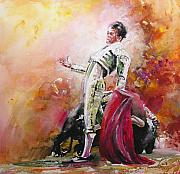 Bulls Painting Originals - Bullfight 24 by Miki De Goodaboom