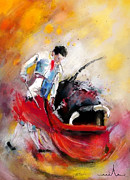 Bulls Painting Posters - Bullfight 73 Poster by Miki De Goodaboom
