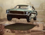 Scene Paintings - Bullitt - Steve Mc Queen Mustang by Ryan Jones