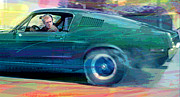 Movie Stars Painting Prints - Bullitt Mustang Print by David Lloyd Glover