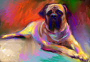 Yellow Drawings - Bullmastiff dog painting by Svetlana Novikova